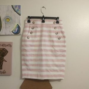 Pink and white striped button front loft skirt